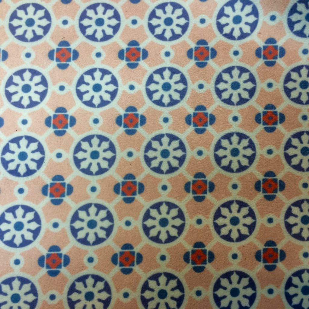 30068 Custom Digital Print Moroccan Tiles on White Suede Fabric