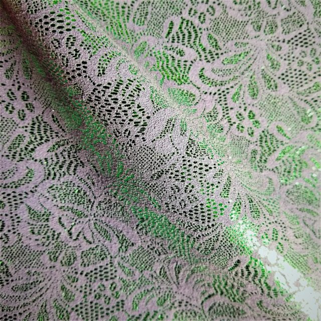 Green Metallic Floral Lace on Periwinkle Cow Leather